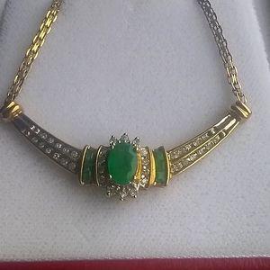ONE DAY SALE! 10k Emerald Diamond Necklace